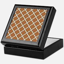 Brown Retro Waves Keepsake Box
