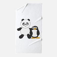 Panda and penguin Beach Towel