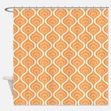 Orange Retro Waves Shower Curtain