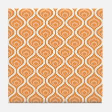 Orange Retro Waves Tile Coaster