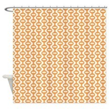 Orange Retro Wave Shower Curtain