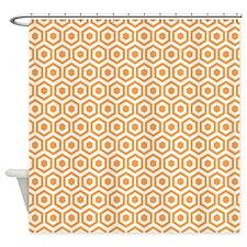 Orange Hexagon Honeycomb Shower Curtain