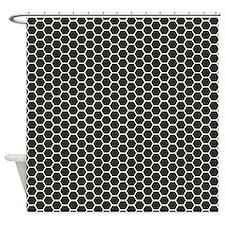 Black Honeycomb Shower Curtain