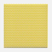 Yellow Herringbone Bricks Tile Coaster