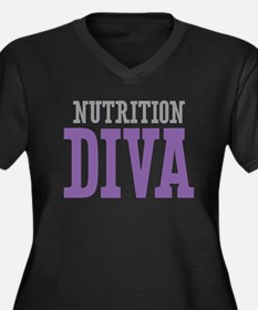 Nutrition DIVA Women's Plus Size V-Neck Dark T-Shi