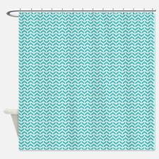 Blue Herringbone Bricks Shower Curtain