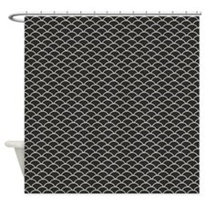 Black Fish Scales Shower Curtain