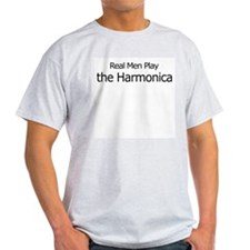 Real Men Play Harmonica Ash Grey T-Shirt
