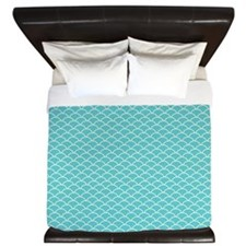 Blue Fish Scales King Duvet