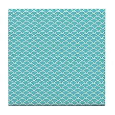 Blue Fish Scales Tile Coaster