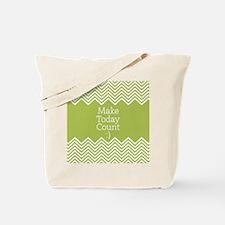 Make Today Count Lime Chevrons Tote Bag
