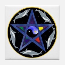 Yin/Yang Pentagram Tile Coaster