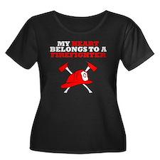 My Heart Belongs To A Firefighter Plus Size T-Shir
