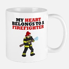 My Heart Belongs To A Firefighter Mugs