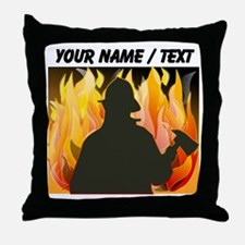 Custom Silhouetted Firefighter Throw Pillow