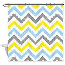 Yellow, gray and aqua chevrons Shower Curtain
