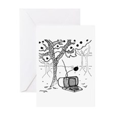 An Apple Falls on A Computer Greeting Card