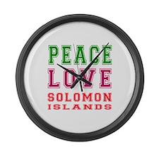 Peace Love Solomon Islands Large Wall Clock