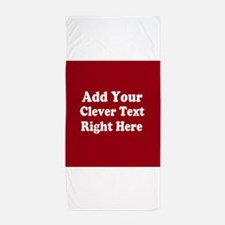 Add Text Background Red White Beach Towel