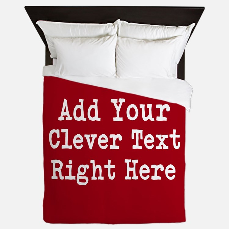 Add Text Background Red Queen Duvet