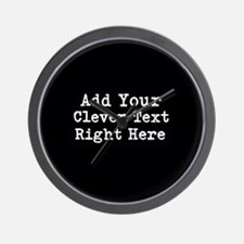 Add Text Background Black Wall Clock