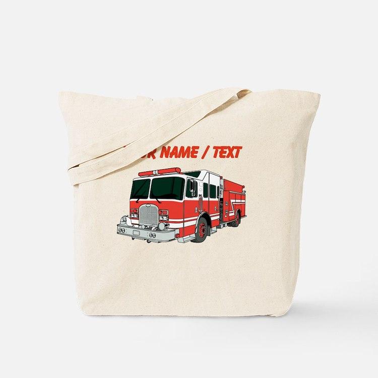 Custom Red Fire Truck Tote Bag