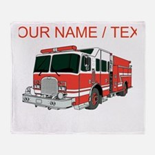 Custom Red Fire Truck Throw Blanket