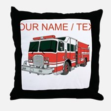 Custom Red Fire Truck Throw Pillow