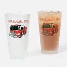 Custom Red Fire Truck Drinking Glass