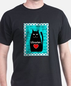 librarian cat blanket teal T-Shirt