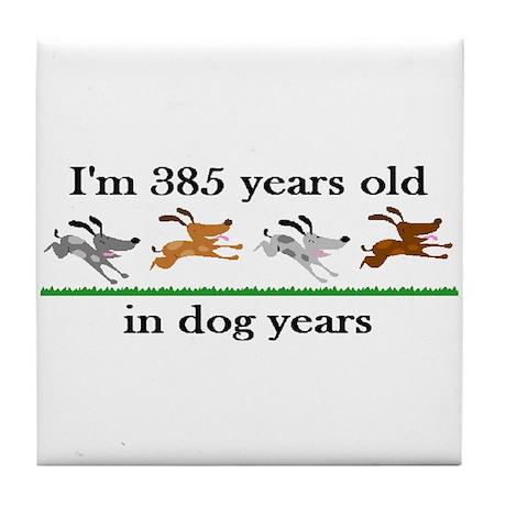 55 dog years birthday 2 Tile Coaster