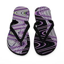 Purple Black Abstract Art  Flip Flops