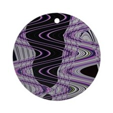 Purple Black Abstract Art  Round Ornament