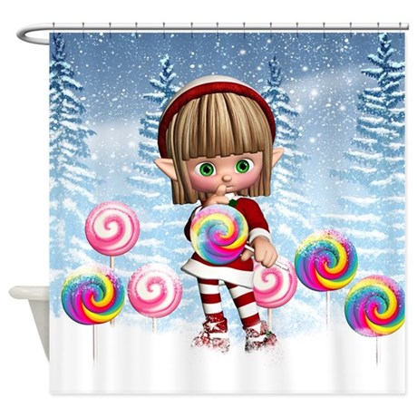 Cute Elf With Christmas Candy Shower Curtain