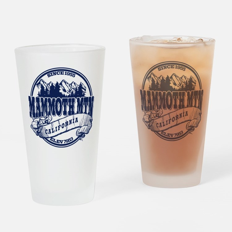Mammoth Mtn Old Circle Blue Drinking Glass
