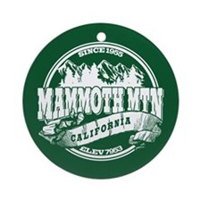 Mammoth Mtn Old Circle Green Ornament (Round)
