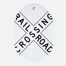 Rail Road Crossing Ornament (Oval)