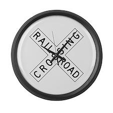 Rail Road Crossing Large Wall Clock