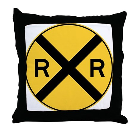 Rail Road Crossing Throw Pillow By SignsandmoreSigns