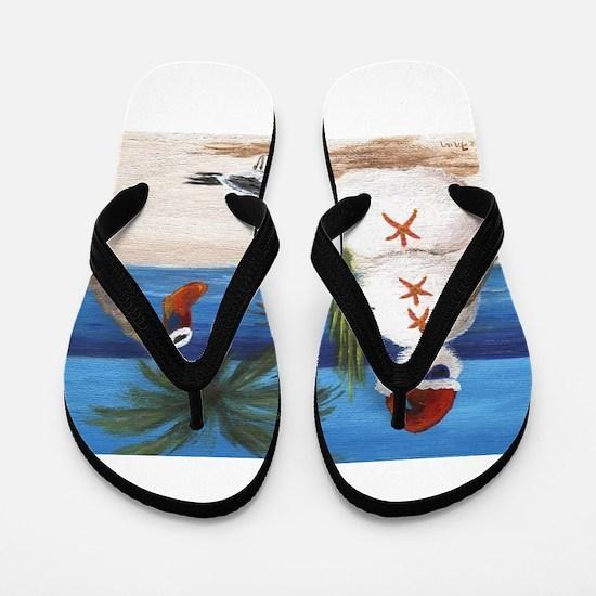 Christmas Beach Sandman Flip Flops