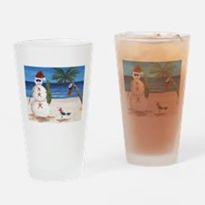 Christmas Beach Sandman Drinking Glass