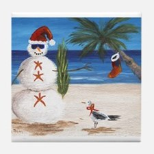 Christmas Beach Sandman Tile Coaster