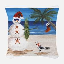 Christmas Beach Sandman Woven Throw Pillow
