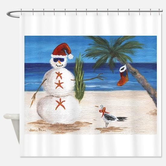 Christmas Beach Sandman Shower Curtain