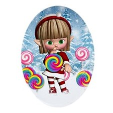 Cute Elf With Christmas Candy Ornament (Oval)