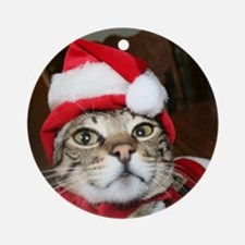 Santas Helper Cat Ornament (Round)