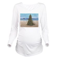 Christmas Beachy Tree Long Sleeve Maternity T-Shir