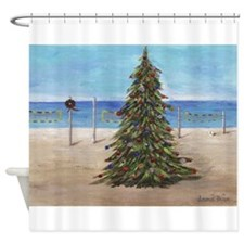 Christmas Beachy Tree Shower Curtain