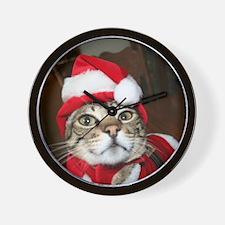 Santas Helper Cat Wall Clock