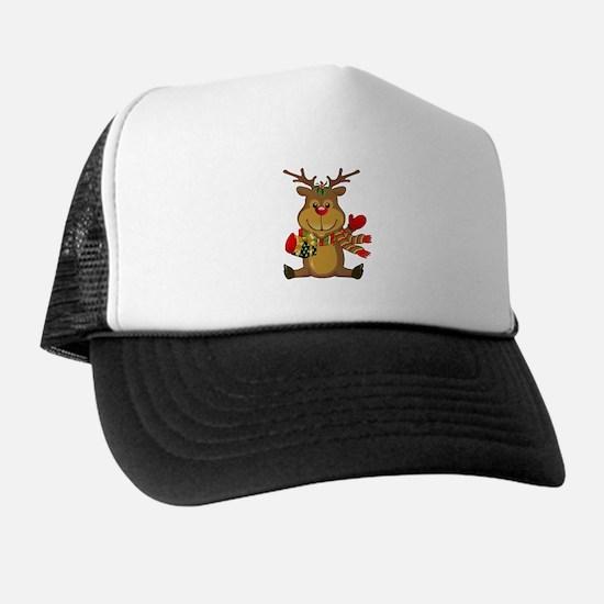 Sitting Reindeer w Package Scarf Trucker Hat